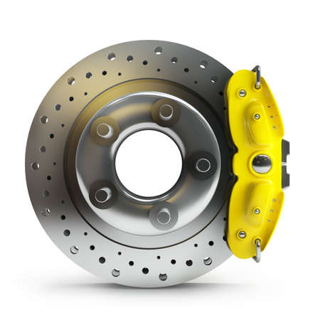 silver sports car: brake disk with a yellow support. isolated on white background High resolution 3d  Stock Photo