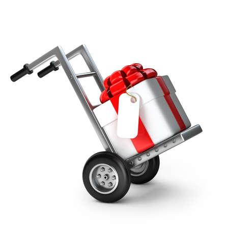 Rode steekwagen met geschenk doos geïsoleerd op witte achtergrond Hoge resolutie 3D Stockfoto