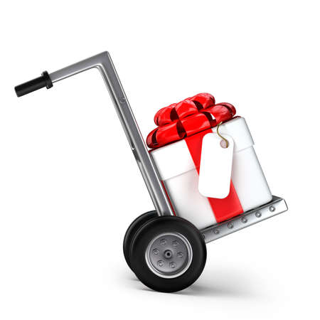 hand truck: Red hand truck with Gift box isolated on white background High resolution 3d