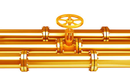 Gold collection. gas pipe with valve isolated on white background High resolution 3d  photo