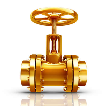 stop gate valve: Gold collection. gas pipe with valve isolated on white background High resolution 3d  Stock Photo