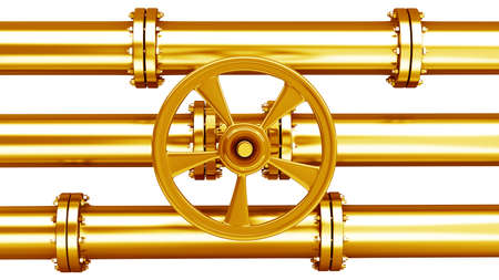 Gold collection. Pipeline Stopcock isolated on white background High resolution 3d  photo
