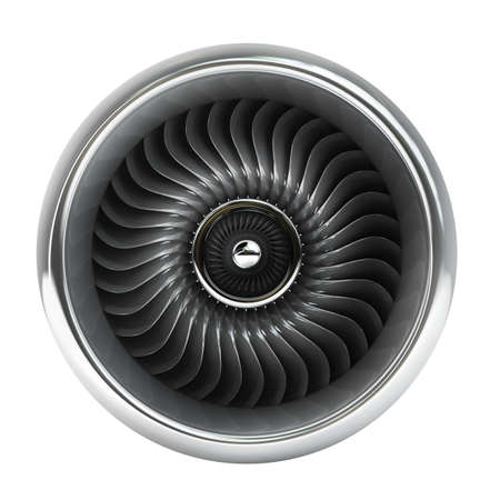 airplane engine: Jet engine front view isolated on white background High resolution 3d