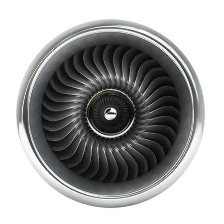 Vista frontal del motor de jet aislado en el fondo blanco de alta resolución en 3D