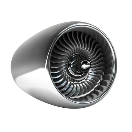 aircraft engine: Jet engine isolated on white background High resolution 3d