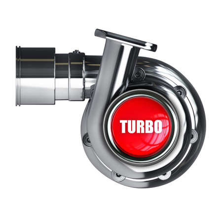 Steel turbocharger isolated on white background High resolution 3d  Stock Photo