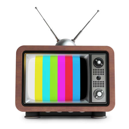 tv retro: TV in wooden vintage case isolated on white background High resolution 3d  Stock Photo