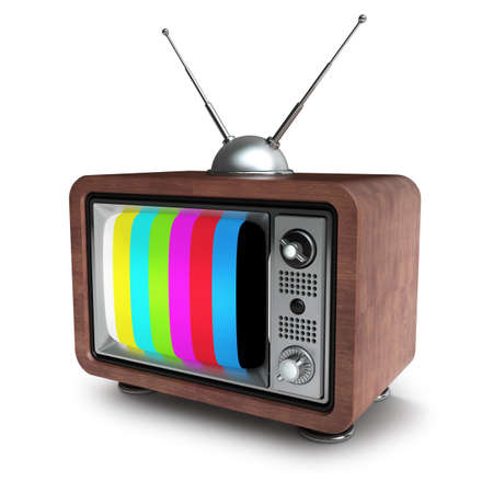 TV en cas de cru en bois isolé sur fond blanc haute résolution 3D Banque d'images - 24042724