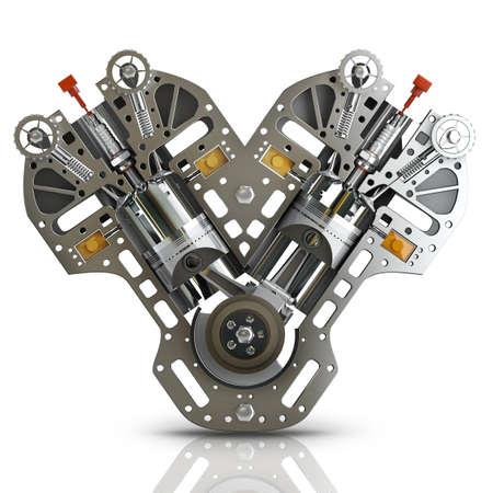 Moteur V8 de voiture isolé sur fond blanc. Concept de voiture moderne. 3D haute résolution Banque d'images - 24042726
