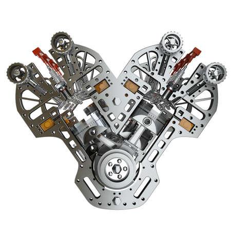 V8-motor van een auto op een witte achtergrond. Concept van de moderne auto. Hoge resolutie 3D- Stockfoto