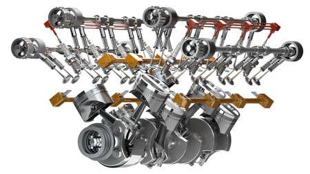 Moteur V8 de voiture isolé sur fond blanc. Concept de voiture moderne. 3D haute résolution Banque d'images - 24042733