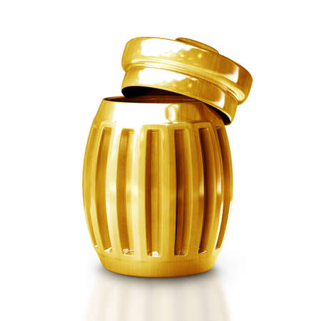 wastepaper basket: Gold trash can isolated on white background High resolution 3d  Stock Photo