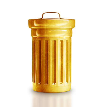 dumping: Gold trash can isolated on white background High resolution 3d  Stock Photo