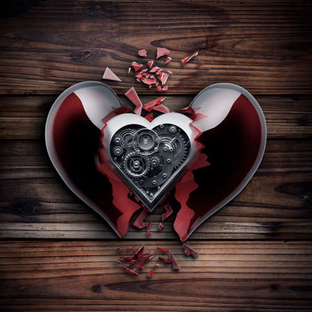 Concept. red broken heart with Mechanical heart inside photo