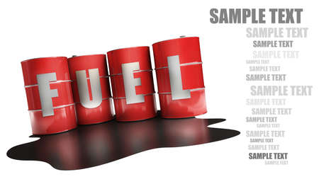 red FUEL barrels isolated on white background High resolution 3d  photo