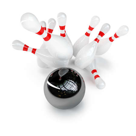 crashing: Bowling Ball crashing into the pins isolated on white background High resolution 3d  Stock Photo