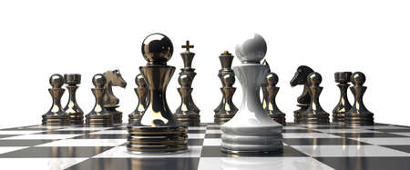 possibility: golden chess pawns isolated on white background High resolution 3d  Stock Photo