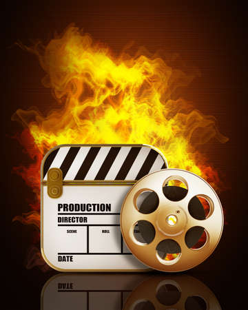 clap: Film and clap board movies symbol in Fire. High resolution. 3D image  Stock Photo