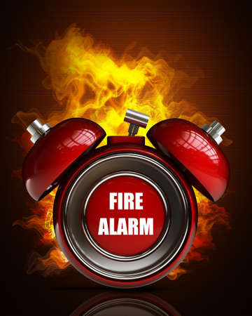 evacuacion: campana de alarma en fuego. De alta resolución. Imagen 3D