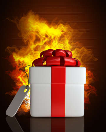Gift box in Fire. High resolution. 3D image  photo