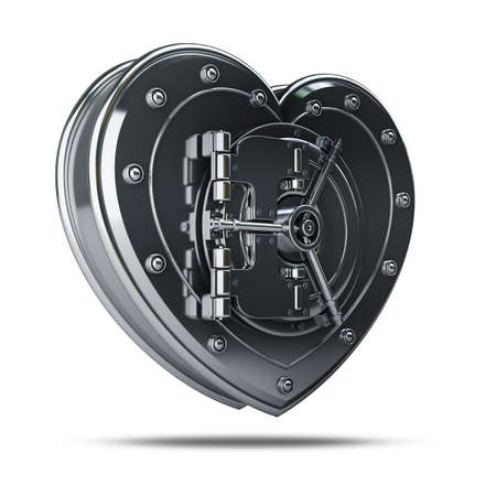 high resolution: Silver heart safe isolated on white background High resolution 3d