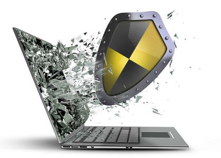 shield exit by a monitor of laptop screen isolated on white background High resolution 3d  photo