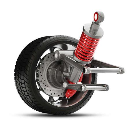 휠, 충격 흡수 및 브레이크 패드는 흰색 배경 고해상도 3D에 고립