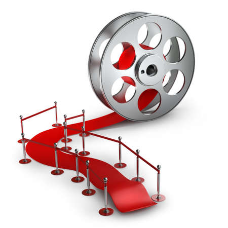 Award concept. Cinema film roll and red carpet isolated on white background High resolution 3d  版權商用圖片