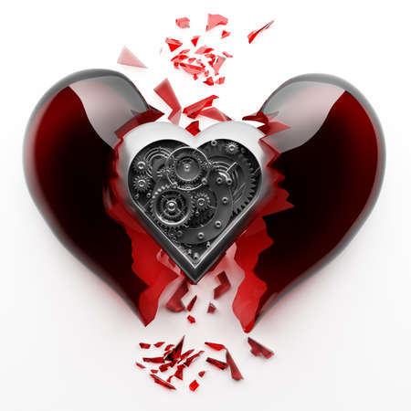 concept. red broken heart with Mechanical heart inside isolated on white background High resolution 3d  photo