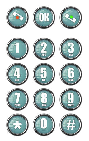 dialplate: Telephone contact number button isolated on white background High resolution 3d