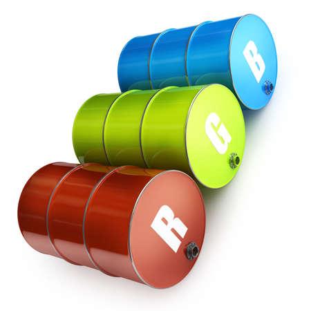 tanque de combustible: Barriles COMBUSTIBLE RGB Concept aislados sobre fondo blanco de alta resolución en 3D