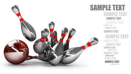 bowling pin: Bowling Ball crashing into the pins isolated on white background High resolution 3d  Stock Photo