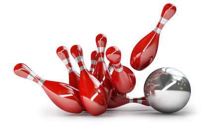 Bowling bal crashen in de pinnen op een witte achtergrond Hoge resolutie 3D