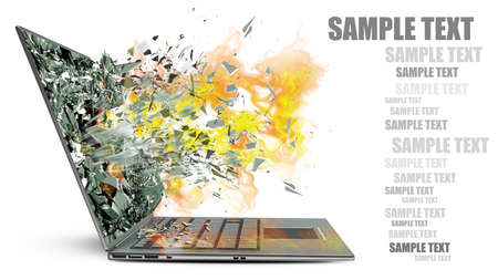 laptop with broken screen  isolated on white background High resolution 3d  Фото со стока
