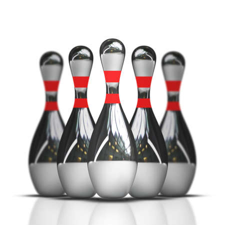 ten pin bowling: bowling isolated on white background High resolution 3d  Stock Photo