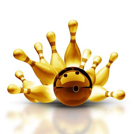 Gold-Sammlung. Bowlingkugel Krachen der Pins auf Vintage isoliert auf weißem Hintergrund mit hoher Auflösung 3D