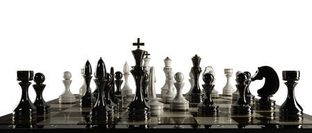 Chess background - checkmate isolated on white background High resolution 3d  photo