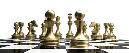 golden chess pawns isolated on white background High resolution 3d  Stock Photo
