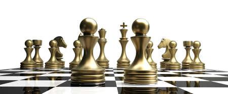 Gouden chess pionnen geïsoleerd op witte achtergrond Hoge resolutie 3D