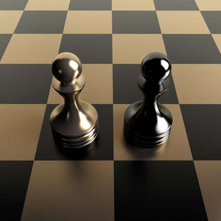 preferment: Black vs gold chess pawn background 3d illustration. high resolution