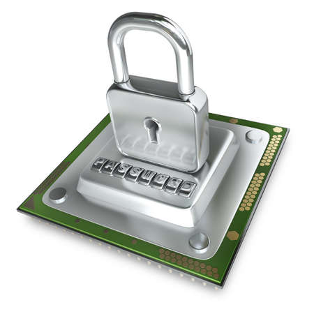 processing speed: Concept. Processor unit CPU the lock isolated on white background High resolution 3d