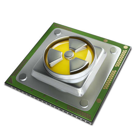 Concept. Processor unit CPU with radiation symbol isolated on white background High resolution 3d  photo