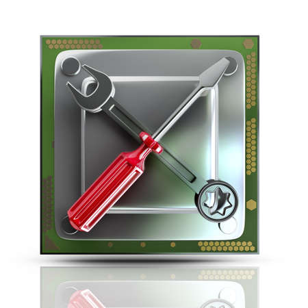 processing speed: Concept. Processor unit CPU with tools isolated on white background High resolution 3d