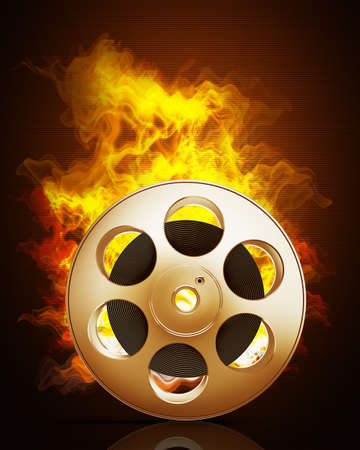 Cinema film roll and stripin Fire. High resolution. 3D image  photo