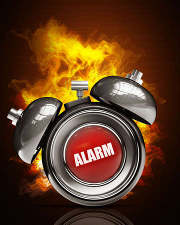 alarm bell in Fire. High resolution. 3D image  Stock Photo