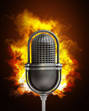 Retro microphone in Fire. High resolution. 3D image  photo