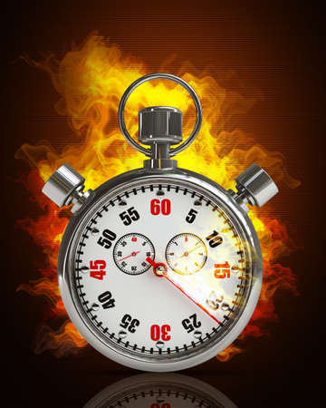 metering: Stopwatch in Fire. High resolution. 3D image