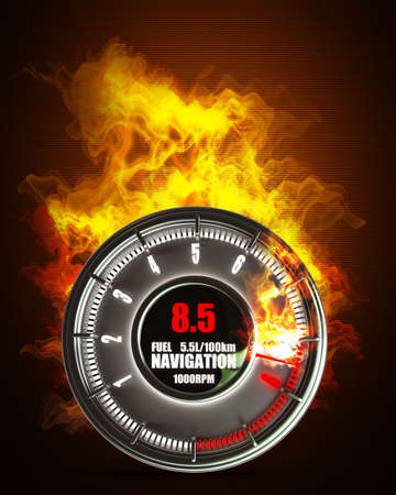 tachometer: tachometer in Fire. High resolution. 3D image