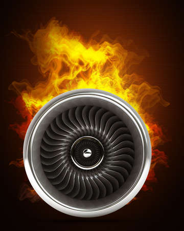 jet engine: Jet engine in Fire. High resolution. 3D image  Stock Photo