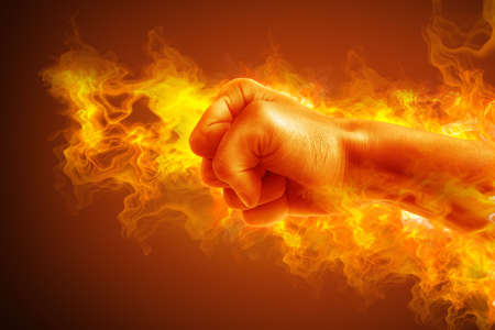 hand grip: Fire fist. High resolution Stock Photo